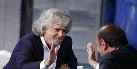 Beppe Grillo ospite della trasmissione televisiva Porta a Porta condotta da Bruno Vespa