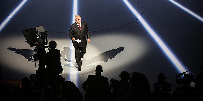 Martin Winterkorn parla al Salone dell'Auto di Francoforte il 14 settembre 2015. (Fredrik von Erichsen/picture-alliance/dpa/AP Images)