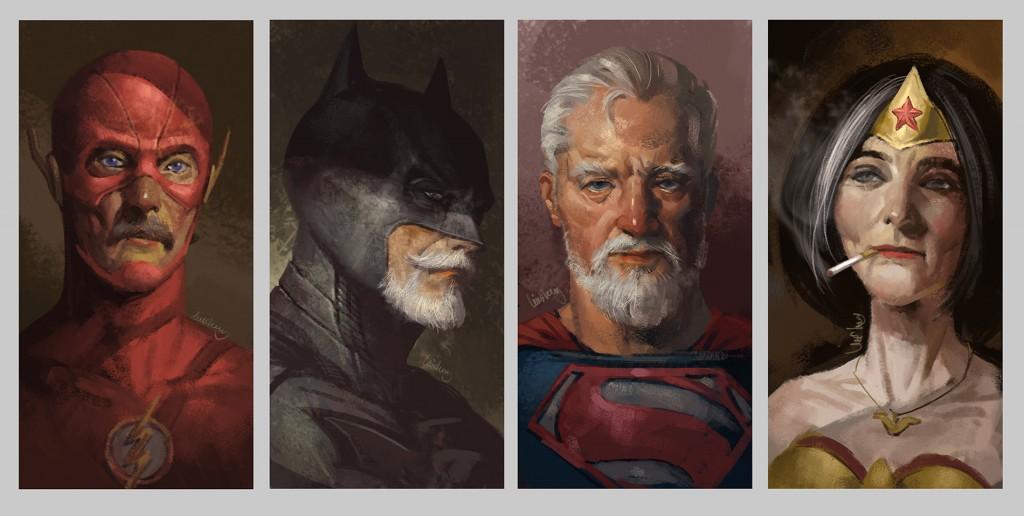 """Eddie Liu, artista di Shanghai ha disegnato gli """"Eld Heroes"""", immaginando come alcuni supereroi potrebbe apparire come cittadini anziani. Il Flash , Batman , Superman e Wonder Woman tutti sembrano essere invecchiati molto bene ."""