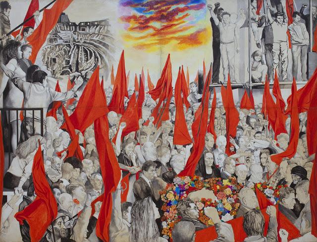 Renato Guttuso - I Funerali di Togliatti, obra realizada 1972